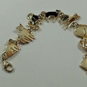 Vintage Gold Cat bracelet, Figural bracelet, 7 1/2